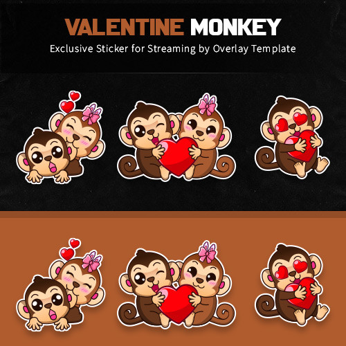 sticker,preview,valentine monkey,overlaytemplate.com